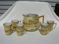 Nippon Lemonade Pitcher and Five Tall Handled Cups China E-OH Hand Painted