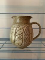 """SIGNED SUSAN BROWN FREEMAN STONEWARE POTTERY, 7 1/4"""" Tall pitcher"""