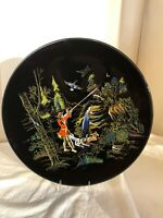 Vintage Black Longwy Charger-Hunting Scene-Inalterable Grand Feu-1960's