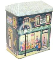 Vintage 1989 Silver Crane Co. Sweet Candy Shop Building Shaped Tin Canister