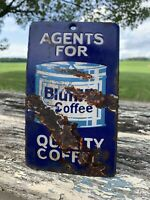 Antique Rare Early Coffee Sign Heavy Thick Porcelain DoorPush Scarce Bluhill Old
