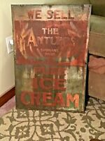 "VINTAGE 1950's ""WE SELL ANTLER'S ICE CREAM' METAL SIGN - ( 29"" X 19.5"" )"
