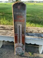 Rare Early Firestone Thermometer 25 Cent Pricer Gas Oil Eskimo Penguin Antique