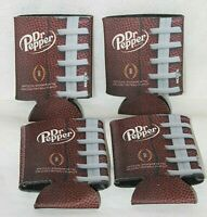 New DR PEPPER Can KOOZIE Set of 4 Insulated Can Wrap Sleeve FOOTBALL DESIGN