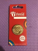 OFFICIAL COCA COLA LONDON 2012 OLYMPIC GOLD MEDAL BOTTLE CAP PIN BADGE BRAND NEW