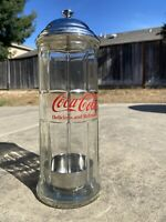 Vintage Coca Cola Straw Dispenser Holder Glass amp; Chrome Diner Style Coke