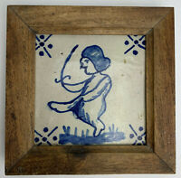Antique Framed Blue DELFT Tile Man with Sword 17th Century Unusual