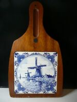 VINTAGE DELFT TILE BLUE WHITE CHEESE BOARD TRAY DUTCH HOLLAND WINDMILLS NO KNIFE