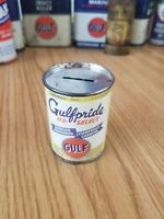 Vintage Gulf Refining Gulfpride Motor Oil Can Bank Gas station advertising auto