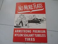 1950 Armstrong Tire Nylon Tire No More Flats Advertising Brochure Road Hazard
