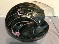 ATV Motorcycle Full Helmet with Lens For Adult Black Pink Small Four Weeler