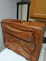 PIEL BROWN GENUINE LEATHER TRAVEL LUGGAGE SUITCASE ON WHEELS W TELESCOPIC HANDLE