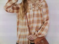 Lauren Conrad Blouse Shirt Plaid Check Peasant Top Silky Kohl#x27;s Extra Small XS