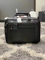 NWT Samsonite Genuine Leather Expandable Briefcase Black One Size