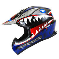 New Adult DOT Motocross Helmet MX BMX ATV Dirt Bike Storm Shark Blue S M L XL