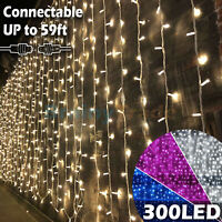 3M/6M 300/600 LED Window Curtain Icicle String Fairy Lights Wedding Party Decor