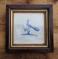 Antique Framed Peacock Dutch Delft Tile  17th century Very Sweet