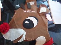 Pottery Barn Chair Backer Christmas Rudolph mono Wiilliam New