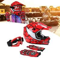Youth DOT Red Spider Net Helmet Goggles Gloves ATV Dirt Bike Motocross S M L XL