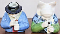 20th C. Henriot Quimper Figural Pitchers: Man and Woman Smoking Pipes