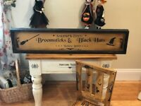 Primitive Vintage Reproduction Halloween Advertising Sign Witch HP OOAK