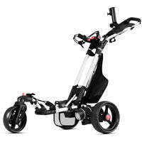 Foldable Electric Golf Push Cart With Umbrella Holder Lithium Battery 120W