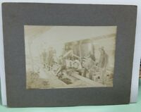Antique sawmill w/ steam traction engine/tractor carded photograph