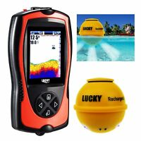 Lucky Wireless Fish Finder Locator 45M Depth Color LCD Boats Ice Night Fishing