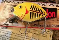 HEDDON PUNKINSEED 9630 2nd, in YELLOW and BLACK SHORE = XYWBR