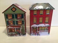 Harry London Christmas Tin House Lot Of 2 Embossed Houses/Business