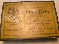 Vintage Tin Letter Box For Word Building Iroquois Publishing, Syracuse, N.Y.