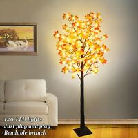 LED Lighted 5.4ft Fall Maple Tree with 120 Warm LED Lights Indoor Outdoor Xmas