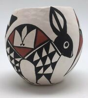 R. Malie Signed Acoma N. M. Small Handpainted Pottery Rabbits