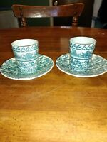 Vintage Nymolle Art Hoyrup Set of TWO Cup & Saucer Viking Knight Castle Denmark