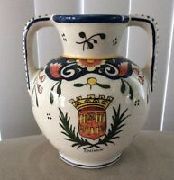 Vintage French Hand Painted CHINON Loire Valley Pottery Vase 4 1/4