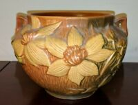 Roseville Clematis Textured Brown w Yellow flowers Jardiniere  # 667-5
