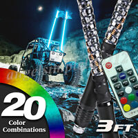 2pc 3ft Spiral LED Whip Lights 20 Colors Accessories for ATV Polaris RZR SUV UTV