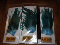 Rooster Super Saddle Teal Aqua Blue Grizzly Dun crafts hair feathers fly tying