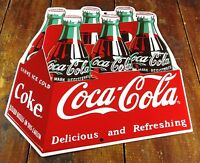 Coca Cola Coke 6 Pack Soda Bottles Carton Highly Embossed Metal Advertising Sign