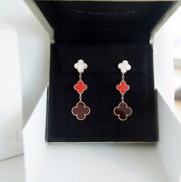 NEW LIMITED Van Cleef and Arpels VCA Magic Alhambra Coral Earrings 3 Motifs MOP