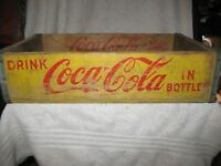 1960 Yellow Coca Cola Crate, Wooden Crate for Coca Cola Soda Bottles
