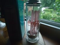 VINTAGE STYLE CHROME AND GLASS COCA COLA STRAW DISPENSER AND BOX