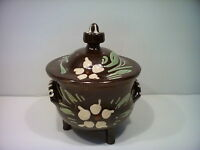 Vintage Soufflenheim Alsace Pot French Pottery Lidded Footed Hand Painted Brown
