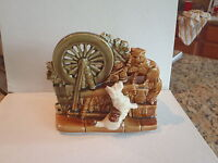VINTAGE MCCOY RS 1953 PLANTER - DOG & CAT W/ SPINNING WHEEL