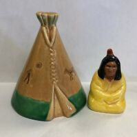 VALLONA STARR ~RARE~ INDIAN CHIEF AND TEEPEE SALT AND PEPPER SHAKERS
