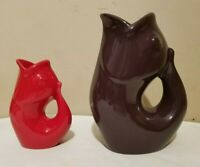Lot Of 2 2006 Gurgle Pot Fish Purple & Red Ceramic Pitcher Vase 9.5