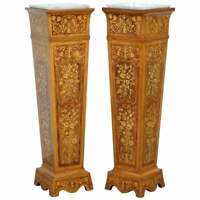 PAIR OF VINTAGE KINGWOOD & ROSEWOOD + MARBLE MARQUETRY INLAID JARDINIERE STANDS