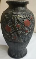 Antique Japanese Art Pottery Vase Marked MADE IN JAPAN Flowers Relief 319