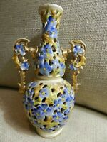 FISCHER J. Budapest Reticulated Pottery Pitcher Blue floral  Antique