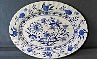 VINTAGE BLUE LILY IRONSTONE 4423 IRONSTONE STAFFORDSHIRE OVAL PLATTER